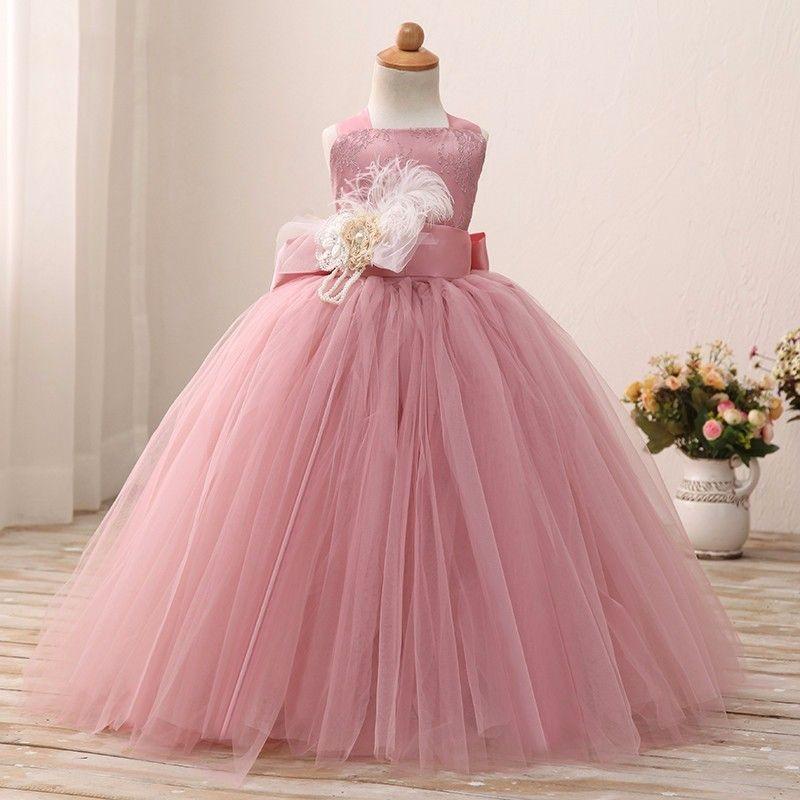 Encantador Empoeirado Subiu Criança Flor Meninas Vestidos Para O Casamento Com Alças de Flores de Penas Rendas Tule Vestidos de Baile Meninas Formais pageant Vestidos