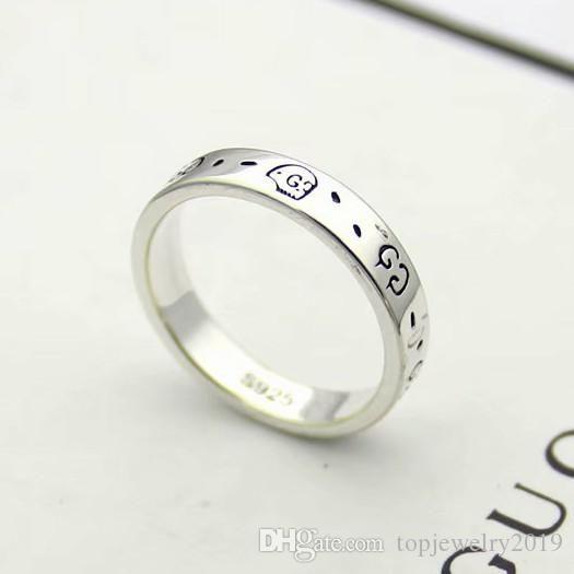 роскошные ювелирные изделия пара колец с гравировкой черепа G дизайнерские кольца Титановая сталь античная серебряная скульптура обручальные кольца для женщин и мужчин