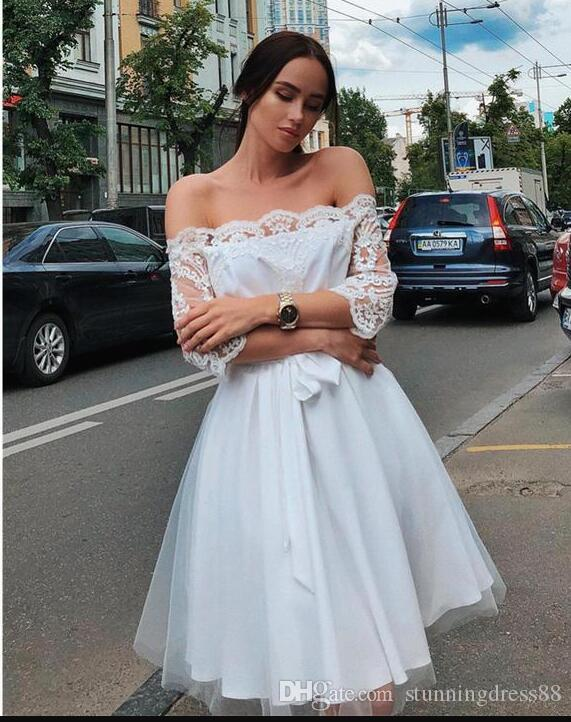 Cute Knee Length Off the shoulder Wedding Dresses Lace Applique Illusion Sleeves Tulle Bows Cheap Wedding Dress Bridal Gowns New