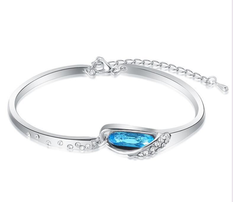 Luxurious Blue Diamond Bangle Bracelet 925 Sterling Silver Glass shoes Bracelet High Quality Alloy + Rhinestone Crystal Glass