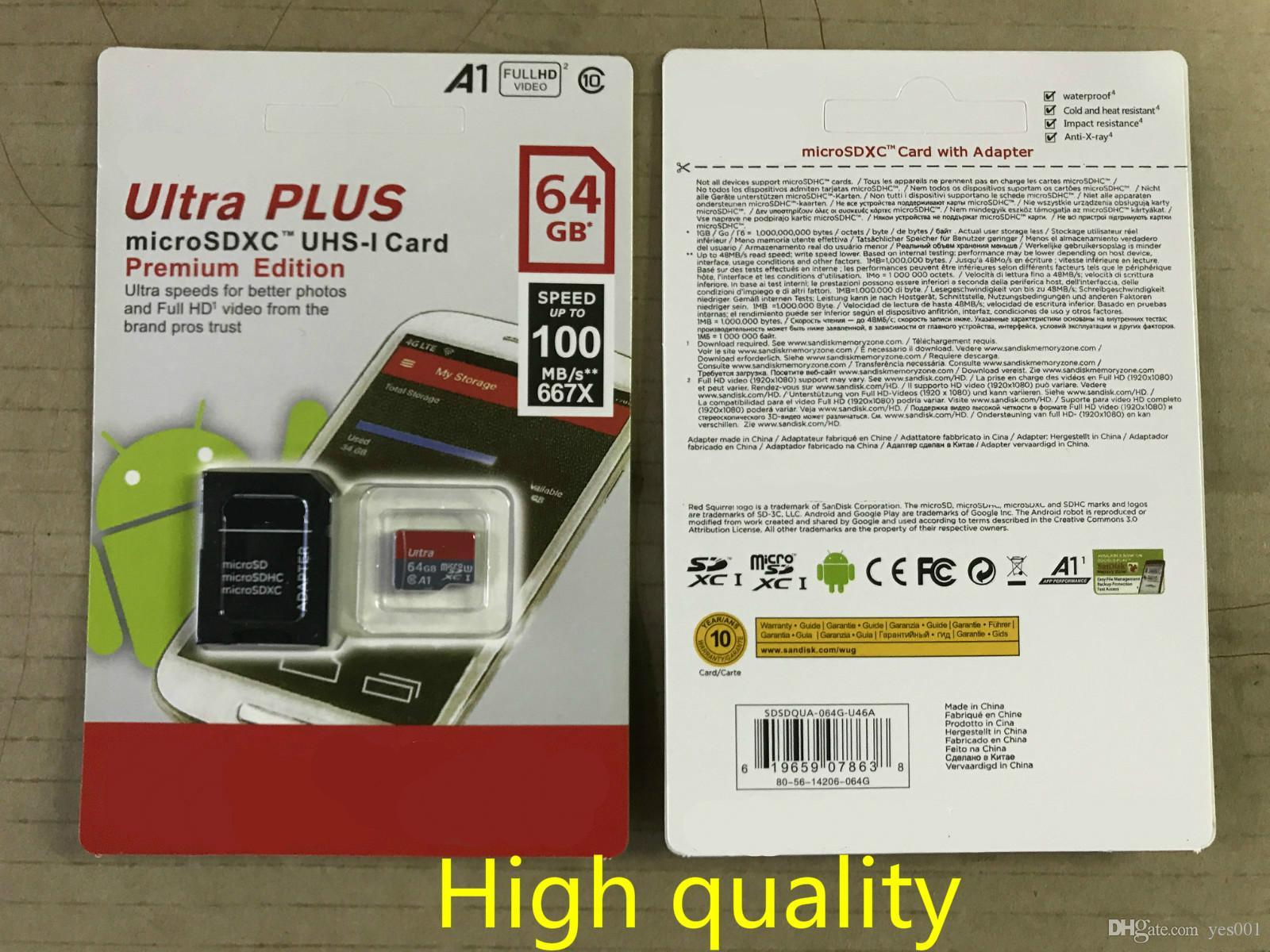 8G / 16GB / 32GB / 64GB / 128GB / 256GB SDK para cartão micro sd / smartphones TF C10 / cartão de memória A capacidade real / SDXC cartão de memória de 100MB / S