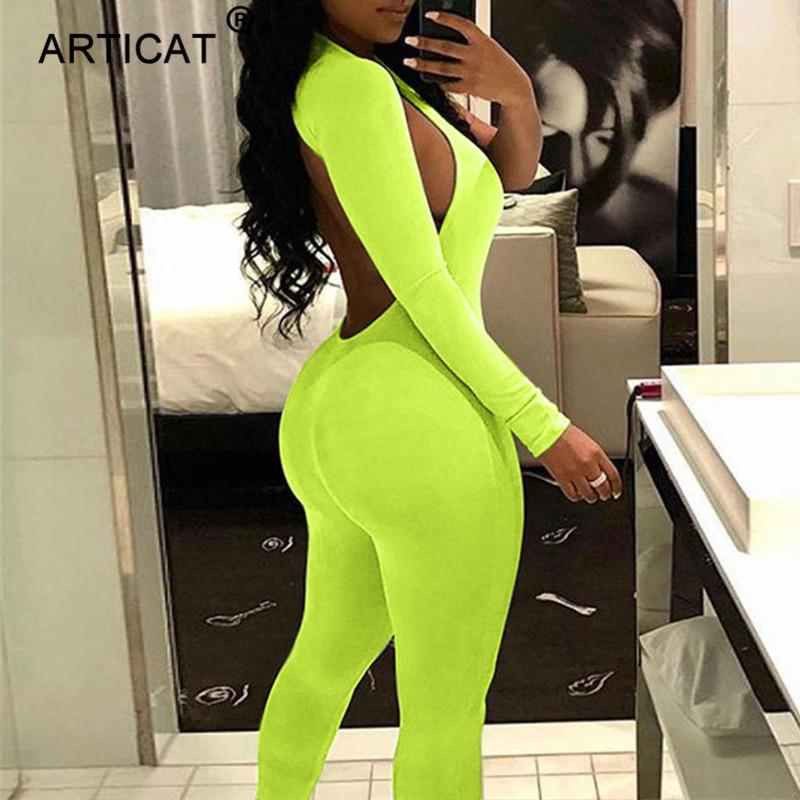 Articat Fluorescent Green One Shoulder Sexy Jumpsuit For Women 2018 Autumn Long Sleeve Backless Skinny Playsuit Casual Overalls Y19051601