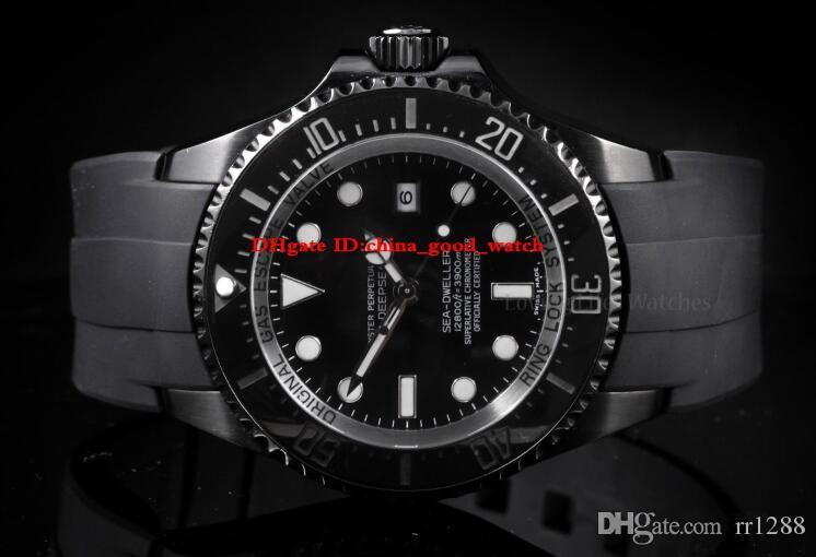 Yüksek Kaliteli Izle 126660 126600 Deniz Dweller Seramik ETA 2813 Otomatik Deniz Siyah PVD Kauçuk kayış Erkek Saatler Saatı