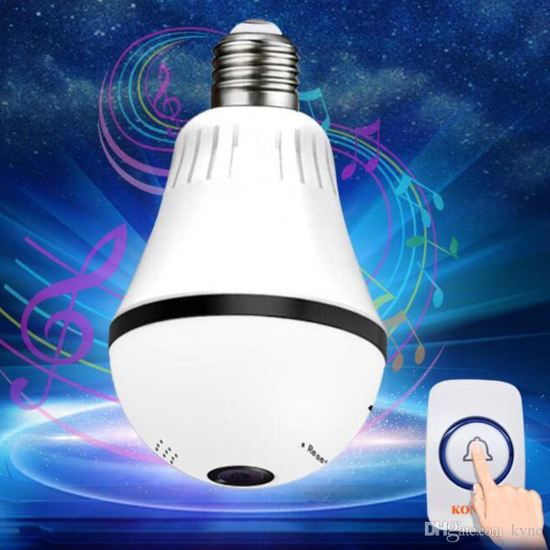 WIFI Doorbell Light Bulb Video IP Camera CCTV 360 Degree Panoramic Fisheye VR Cam For Home Security Wireless Two Way Audio DPHS113S