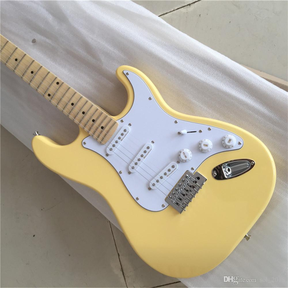 Free ShippingFactory Custom Milk Yellow Electric Guitar with Scalloped Maple Neck,3 S Pickups,Big Headstock,Abalone Inlay,Offer Customized