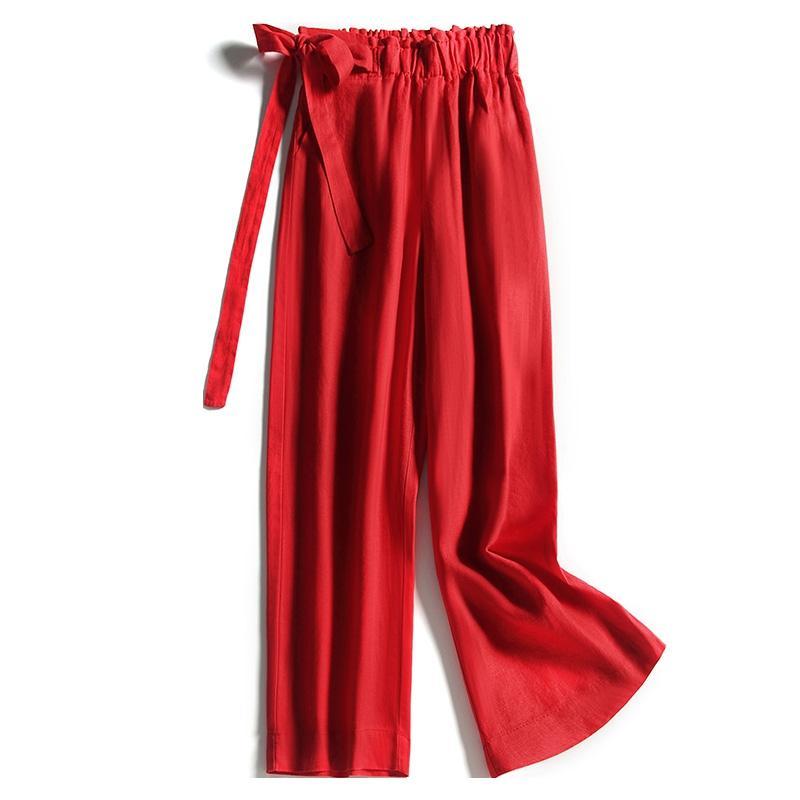 Yaz Moda Kadın Elastik Yüksek Waisted Bow Geniş Bacak Gevşek Siyah Kırmızı Keten Pantolon, Bahar Casual Kadınlar Kadın 3XL Pantolon