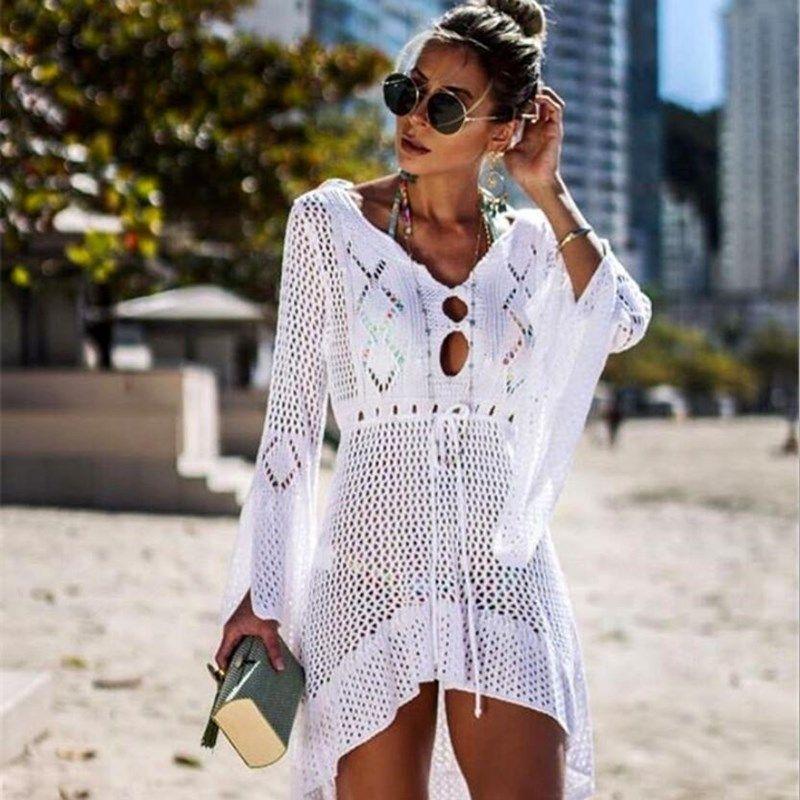 New Beach Cover Up Crochet per le donne a maglia nappa Tie Beachwear Summer Fashion Swimsuit Cover Up sexy See-through Beach Dress