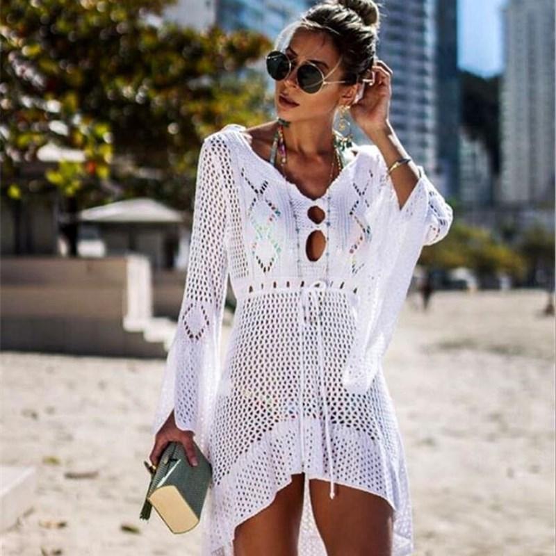 New Beach Cover Up Häkeln für Frauen gestrickten Tassel Tie Bademode Sommer Mode Badeanzug-Vertuschung Sexy See-through-Strand-Kleid