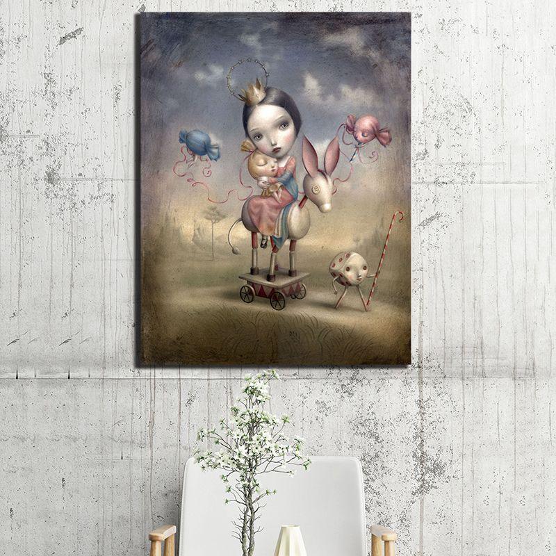 Compre Nicoletta Ceccoli Chica Dulce Lienzo De Pintura Cuadro En La Pared Cartel E Impresión Decoración Para El Hogar Decorativa A 806 Del Iwallart