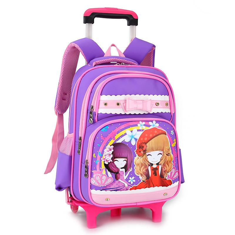 Removable Children School Bags girls 3 Wheels Stairs princess bags Kids Trolley Schoolbag Luggage Book Bag Wheeled Backpack kids