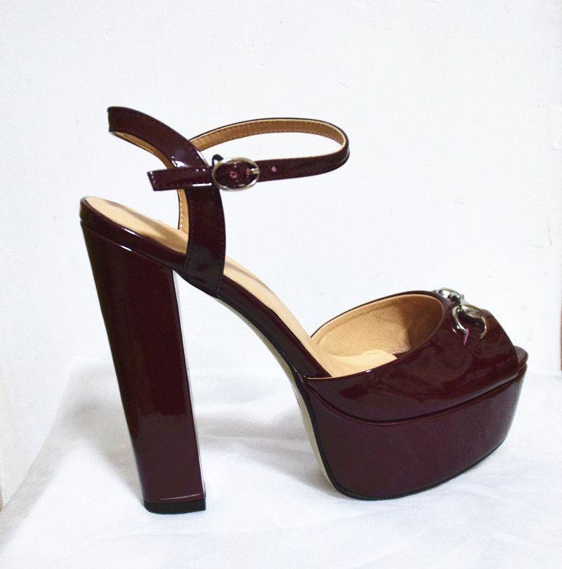 Venta caliente de los zapatos-ES faminine alto grado peep toes zapatos de mujer plataforma tacones gruesos sandalias sapatos melissa libera shippi