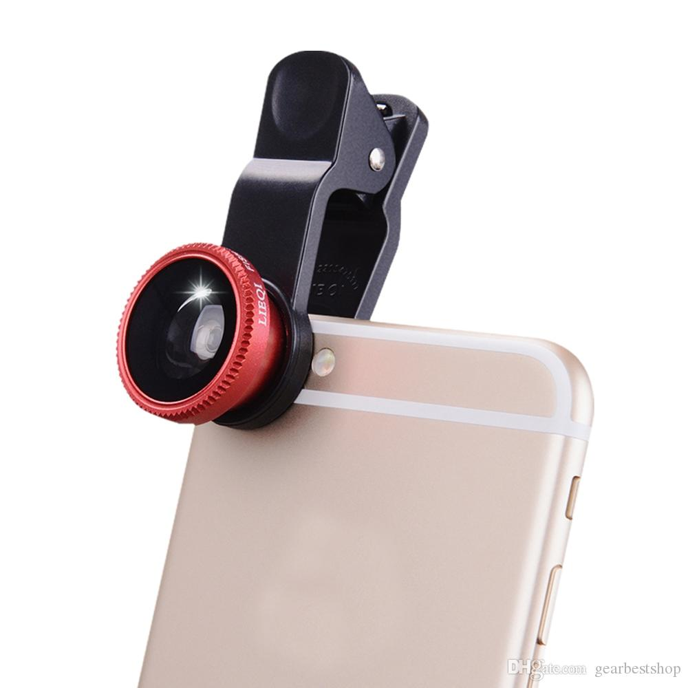 3 in1 peixe olho grande angular macro câmera clip-on lente para celular universal
