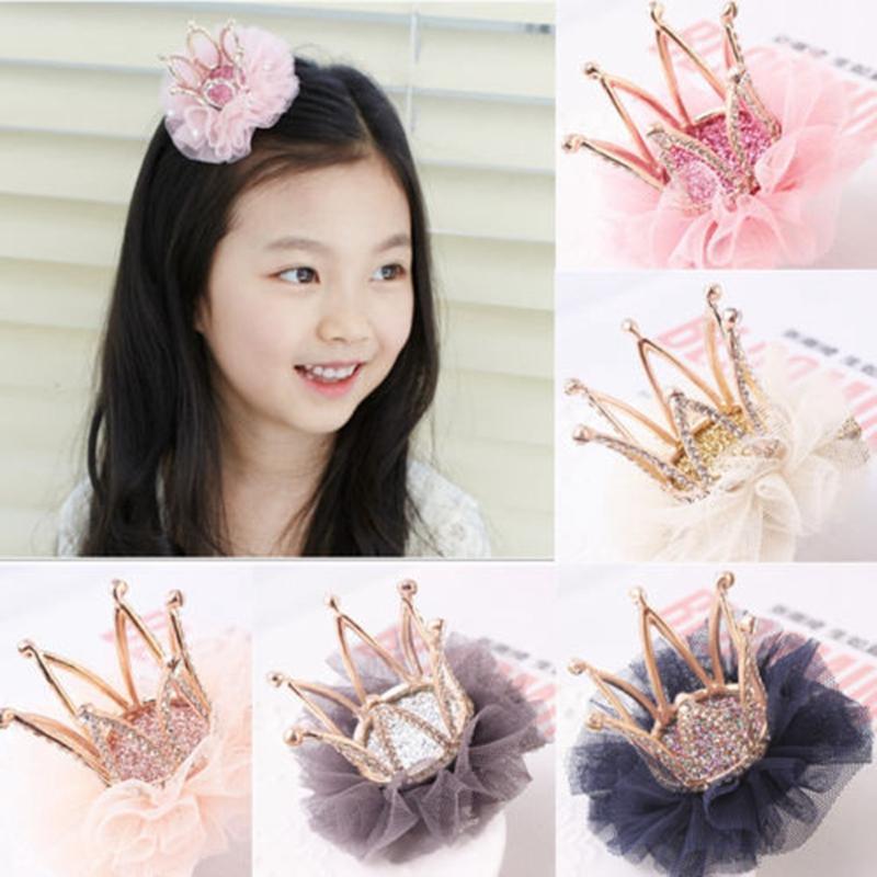 Cute Sweet Baby Девушки Корона цветок Дети зажим для волос ленты Bowknot Шпилька Rhinestone Циркон Клип Headwear Детские аксессуары