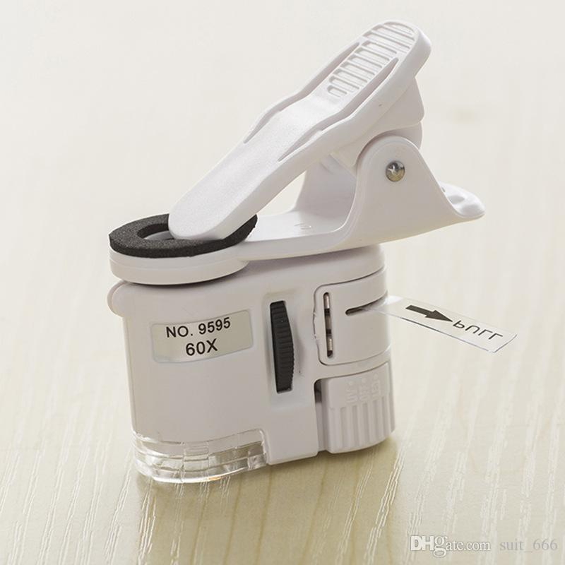 60-Folfet téléphone portable microscope uv billet de banque Vérifiez lampe LED lampe loupe d'instrument optique portable