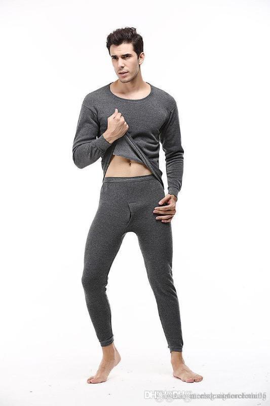 Ternos cor sólida T-shirts calças compridas 2pcs Roupa Sets Bottoming Pajama Define Mens Inverno Pijamas