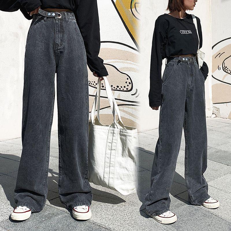 AprilGrass Marca diseñador de la mujer de cintura alta Jeans pierna ancha con ropa vaquera azul Streetwear calidad de la vendimia de moda Harajuku pantalones rectos