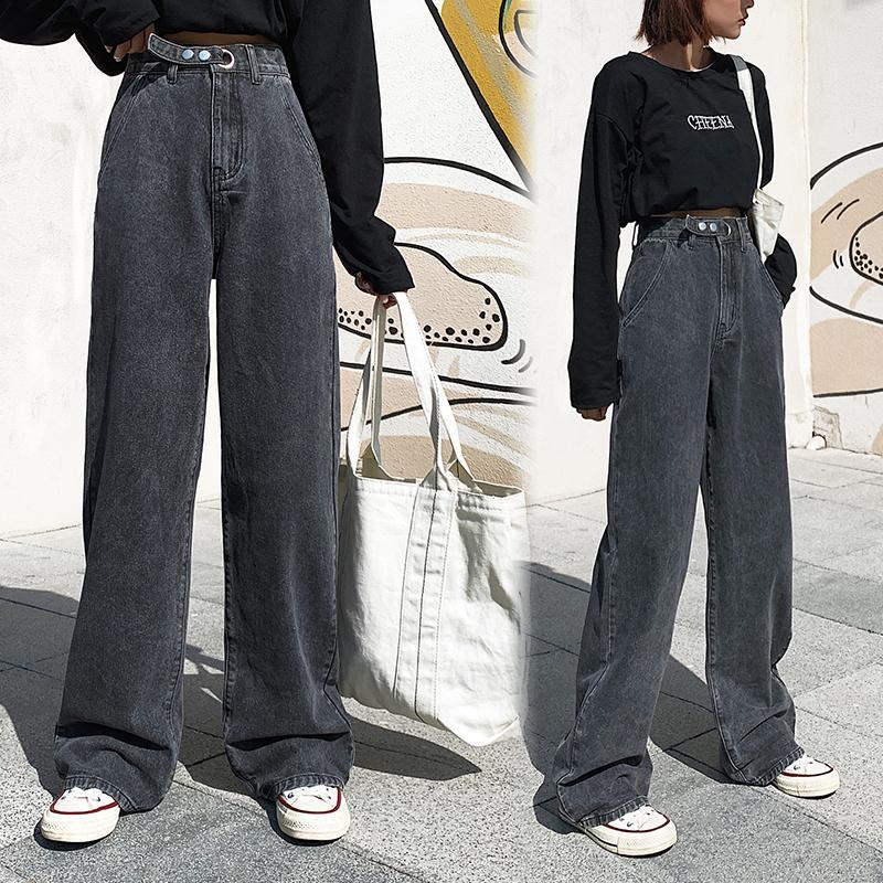 AprilGrass Marka Tasarımcı Kadın Yüksek Bel Kot Geniş Bacak Denim Giyim Mavi Streetwear Vintage Kalite Moda Harajuku Düz Pantolon