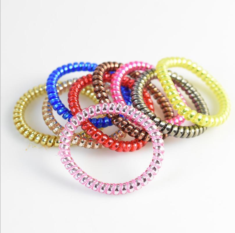 Filo del telefono di alta qualità Cord Gum legame dei capelli ragazze anello elastico fascia dei capelli corda braccialetto caramelle di colore elastico Scrunchy colore misto