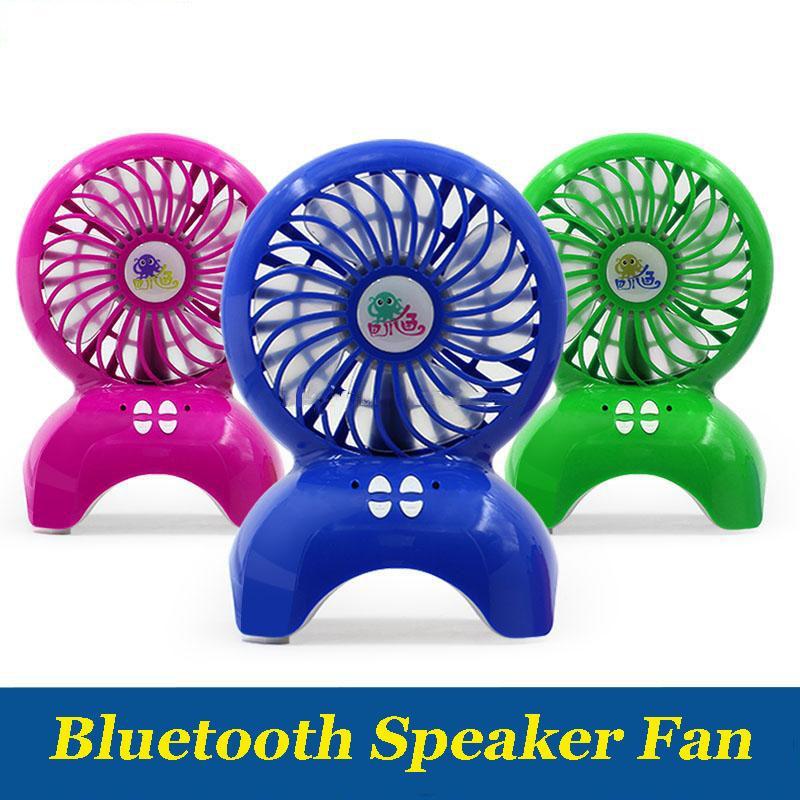 Bluetooth drahtloser Lautsprecher kleinen Ventilator tragbare USB-Lade TF-Karte Desktop-Mini Octopus Fan-Stereo-Musik Luftkühler für Samsung S8 Telefon PC
