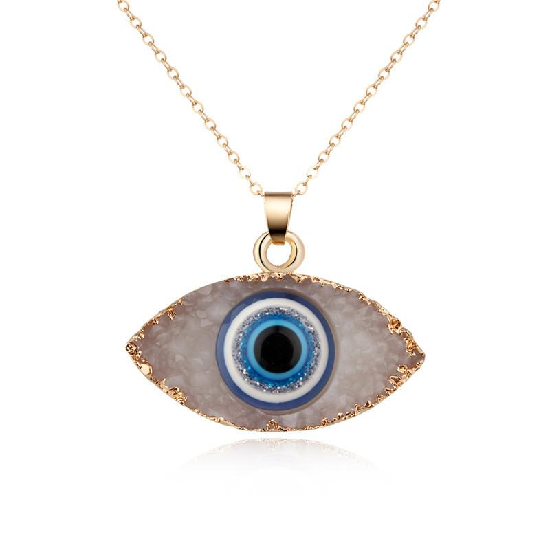 New Natural Stone Evil eyes Pendant Necklace for women Long Chain Crystal Turkish Eye necklaces Girls Luck Jewelry