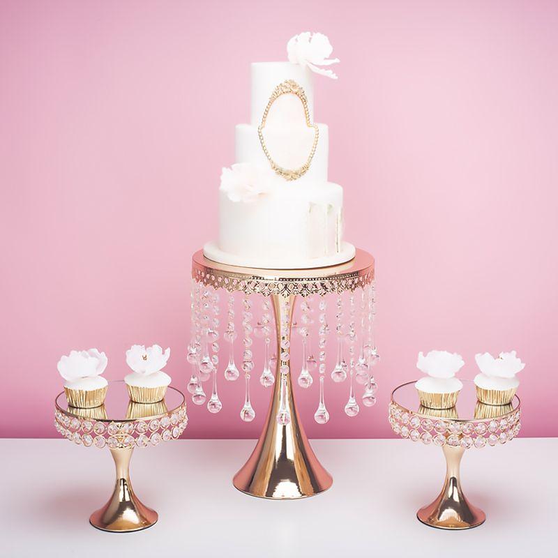 Acheter 2019 Or Luxe Cristal Mariage Grand Grand Gateau Centres De Table Presentoir Titulaire Fondant Macaron Gateau Gateau De Decoration Candybar