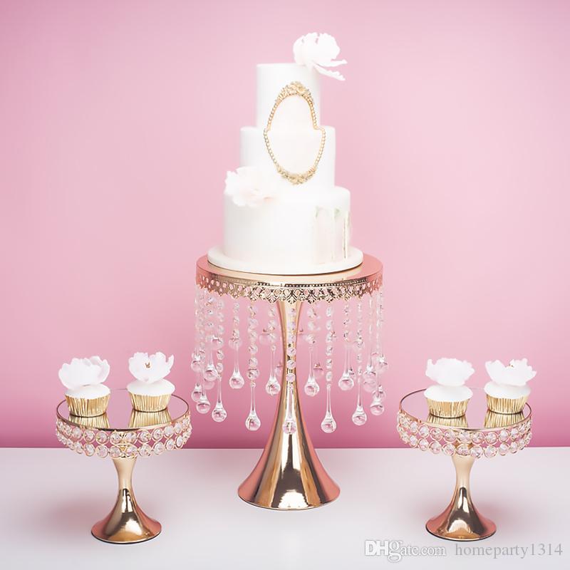 2019 gold luxury crystal wedding tall big cake centerpieces display stand holder fondant macaron cupcake cake decorating candybar dessert
