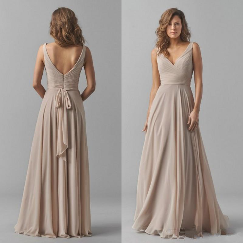Simple Chiffon A-line Long Bridesmaid Dresses 2020 Sexy V-neck Backless Wedding Guest Dress Floor Length Cheap Special Occasion Dress