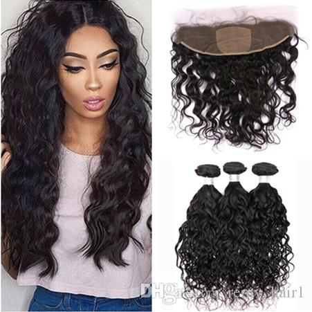 Brazilian Wet and Wavy Human Hair Bundles Deals 3Pcs with Silk Frontal Closure Water Wave Hair Weaves with Silk Base 13x4 Lace Frontal