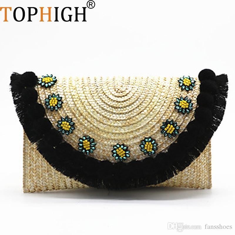 TOPHIGH beach bag straw clutch messenger bag envelope women lady day tassels pineapple summer crossbody bags for women C82 #467959