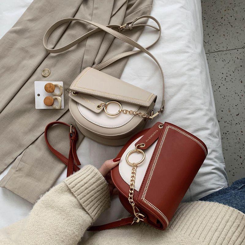 Оригинальный дизайн текстуры сумка женщин 2020 Новая мода Повседневная Сеть Сумка Joker плеча Saddle