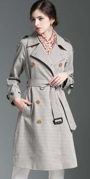 MODA NUEVO! MUJERES INGLATERRA PLUS-zanja larga capa / PEQUEÑO VER marca Diseño de doble botonadura SLIM BELTED foso para las mujeres B89Z162F340 S-XXL