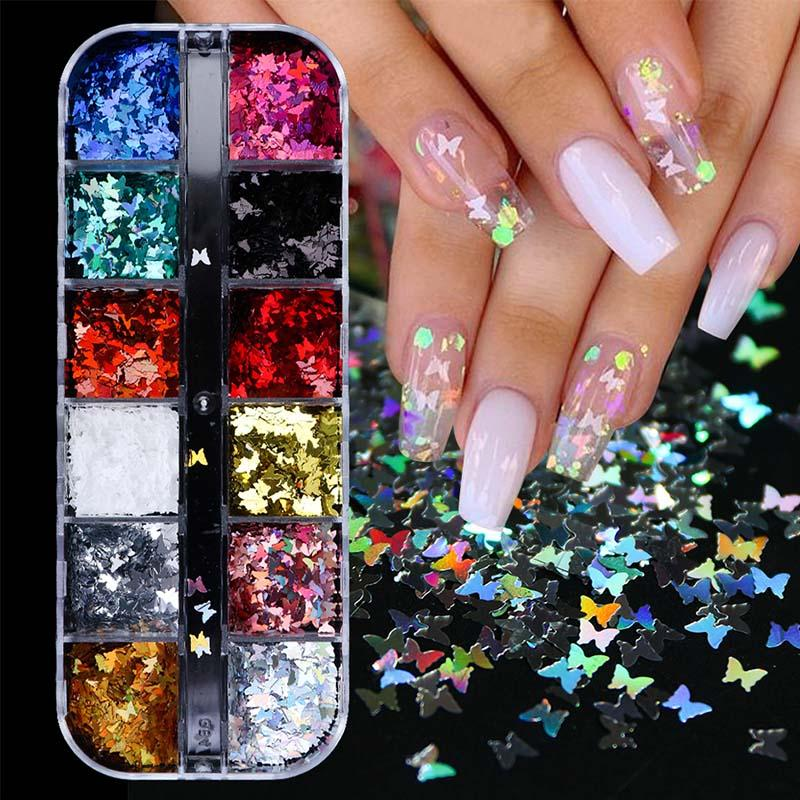 3D Papillon Slice Nail Paillettes Flakes Holographic Iridescent Glitter Nail Art Décoration manucure colorée 12 en 1 Set CH1558