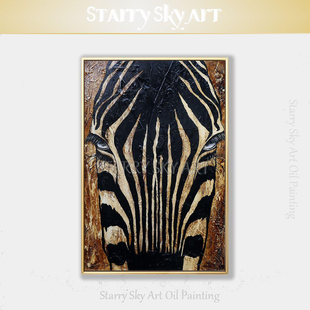 Künstler handbemalte afrikanische Pferdetieracrylmalerei auf Leinwand Afrikanische Pferdepest Zebra Acrylmalerei für Wanddekoration