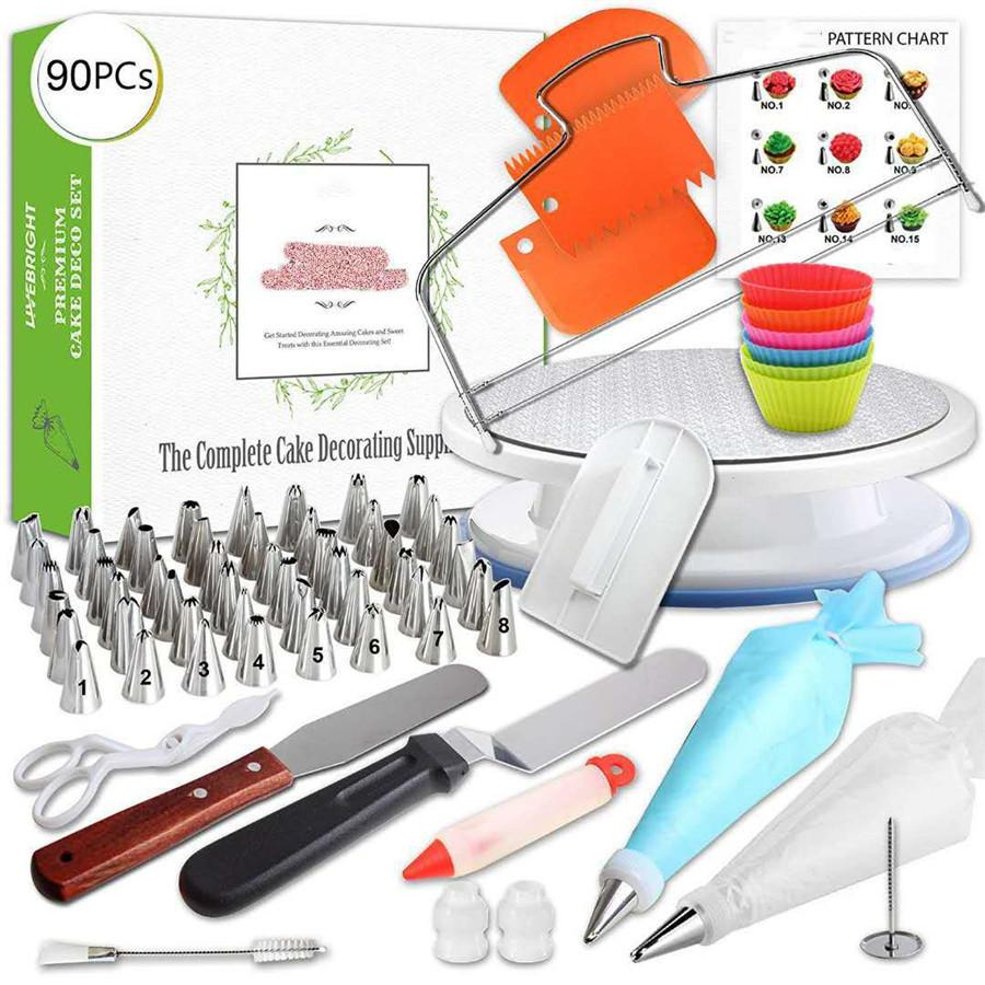 GZTZMY 90pcs Lot Pastry Bag Piping Bag Tips Icing Piping Nozzles Cake Decorating Tools Confeitaria Douille Patisserie Decoration T200523