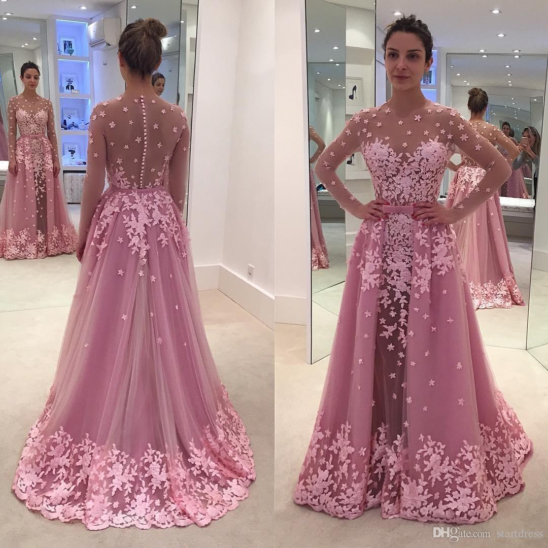 Fancy Hot Pink Long Sleeve Prom Dresses With Detachable Train Lace Applique Sheer Jewel Neck Illusion Bodice Formal Dresses Evening Wear