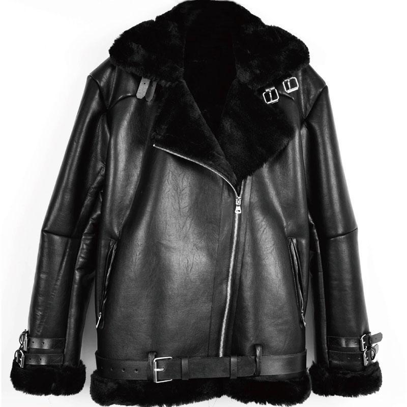 Зима толстая теплая женщина мехом подкладке куртки и пальто Европейский и американский стиль автомобильной овчины пальто леди Одежда A299