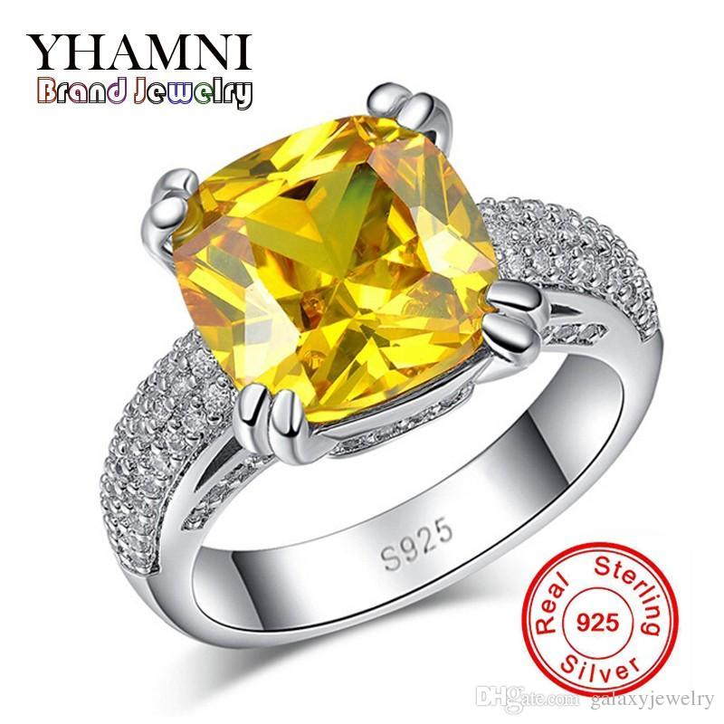 YHAMNI Fine Jewelry Have S925 Logo Real 925 Sterling Silver Ring Set Luxury 4 Carat Yellow Zircon Stone Wedding Rings for Women R178