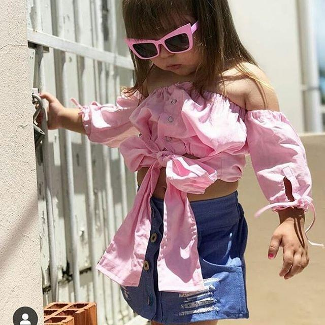 Moda bambini delle neonate vestiti fuori spalla Tops + denim strappati Gonne Set