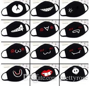 Carta Boca unisex engraçado dos desenhos animados dentes pretos algodão Metade Boca Máscara Anti-bacteriana poeira quente de inverno Máscaras bonito Em estoque !!!