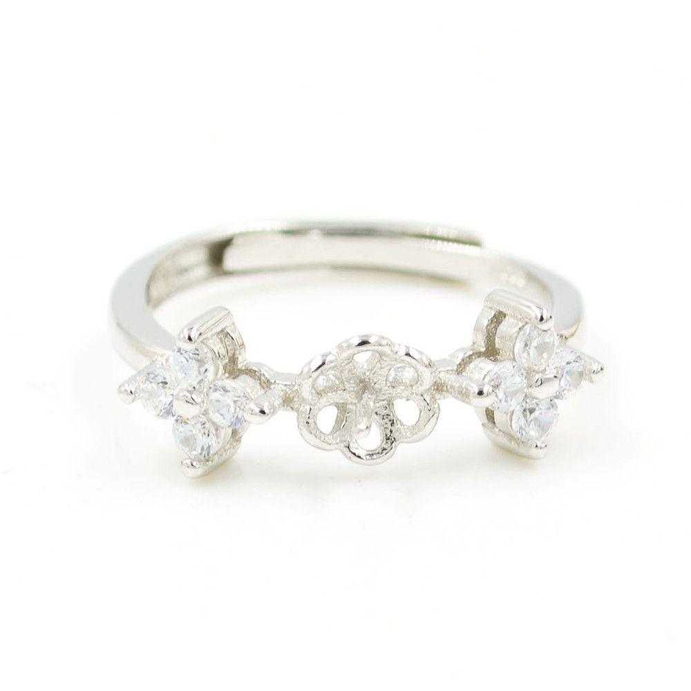 Belo diamante flor de prata esterlina anel de diamantes das mulheres montagens boca aberta tamanho ajustável S925 DIY anel de jóias anel de casamento JZT019
