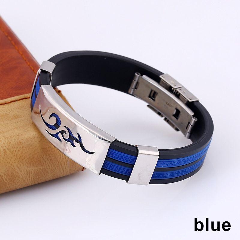 1 PC-Flamme Muster-Stahl Dekor-Silikon-Armband Männer Schmuck Basketball-Armband New Sale