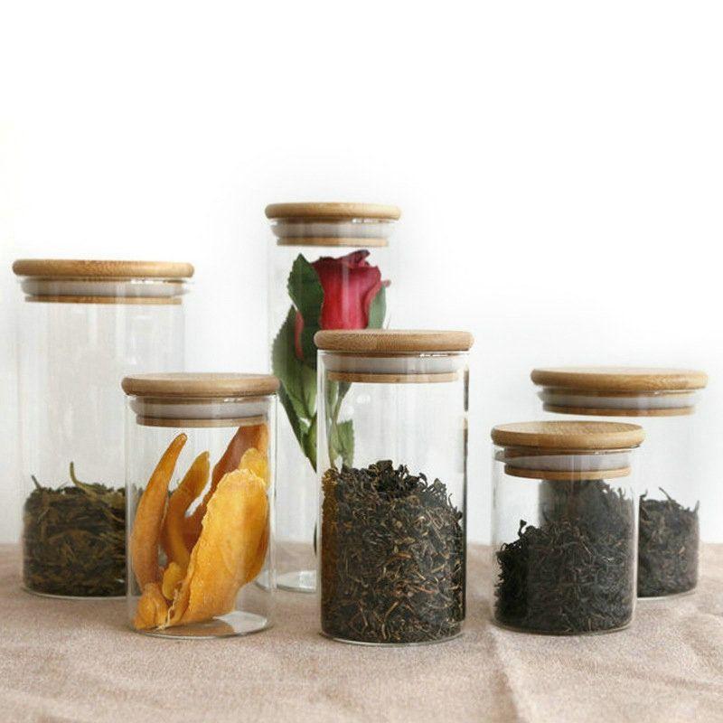 DIY прозрачные кухонные стеклянные стеклянные канистры JAR хранения пробки крышка бутылки для песка для песка жидкость пищевые экологически чистые стеклянные бутылки с бамбуковой крышкой