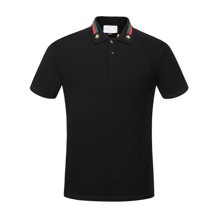 19ss coton solide polo avec la toile et la broderie d'abeille hommes polo col chemise polos mens t shirts vêtements shorts polo