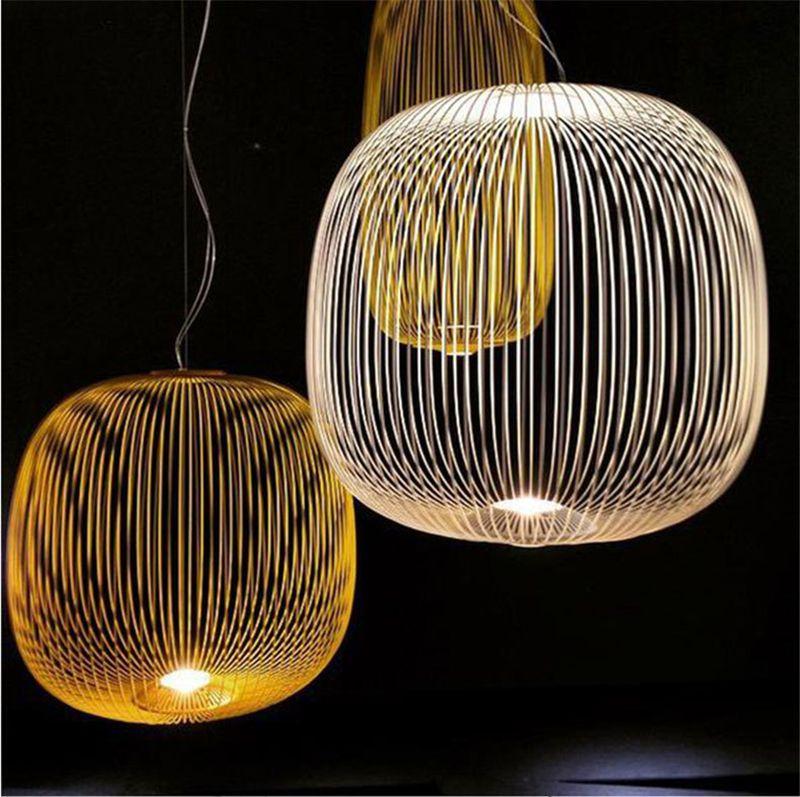 Foscarini porte pendentif lumières nordique industriel oiseau cage lustre pendentif lampe salle à manger maison décor lumineux industriel LED