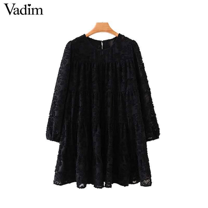 Vadim mulheres moda mini vestido preto straight três quartos manga O pescoço do sexo feminino vestidos casuais básicas Vestidos QC816