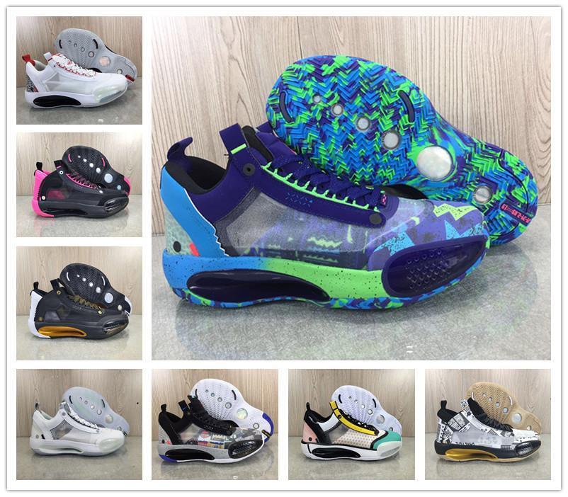 XXXIV 34 Low Regency Violet Croustillant Guo Ailun hommes Chaussures de basket bas-top J34 Blanc Argent métallisé Rose Designer Sport Sneaker avec la boîte