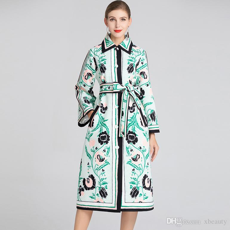 New Collection Women's Runway Trech Coats Long Sleeves Floral Printed Elegant Designer Outerwear Spring Coats