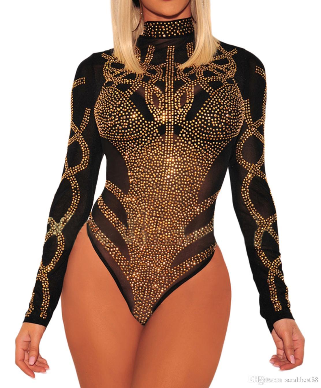 Women Rhinestone Faux Bustier Sheer Mesh Long Sleeves Turtleneck Transparent Party Bodysuit Jumpsuit Underwear Clubwear Bodys with Zipper