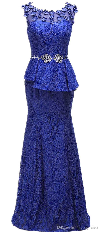 Sirène strass Real Image Fleurs À La Main Dentelle Mère de La Mariée Robes Royal Bleu Longueur Du Sol Femmes Formelle Soirée Robes De Soirée