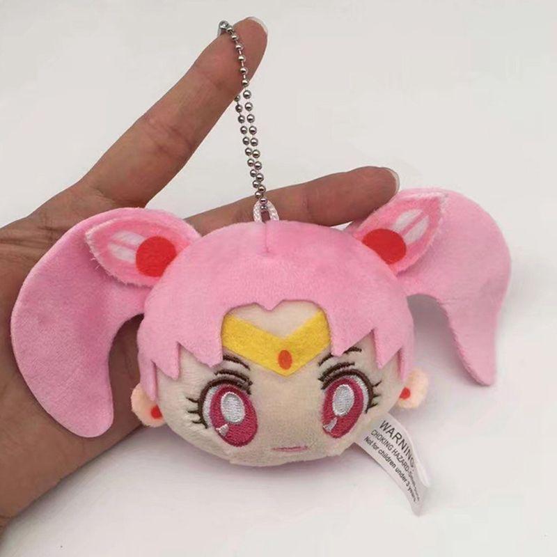 Cute Cartoon Sailor Moon Figure Plush Doll Women Bag Charms Decoration Keyrings School Bag Holder Pendant